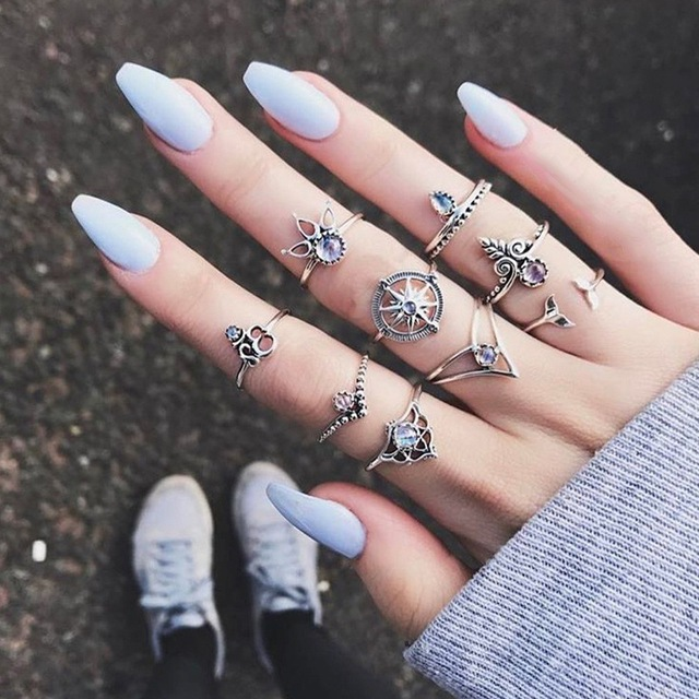 HuaTang Bohemian Antique Silver Ring Geometric Elephant Flower Green Rhinestone Knuckle Rings Midi Finger Anel Rings Jewelry 47