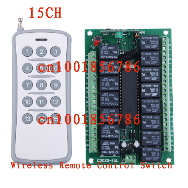Free Shipping 12V DC 10A 15CH (channel) RF Wireless Remote Control Power Switch & Remote Control system Receiver &Transmitter 12v 8 ch channel rf wireless remote control switch