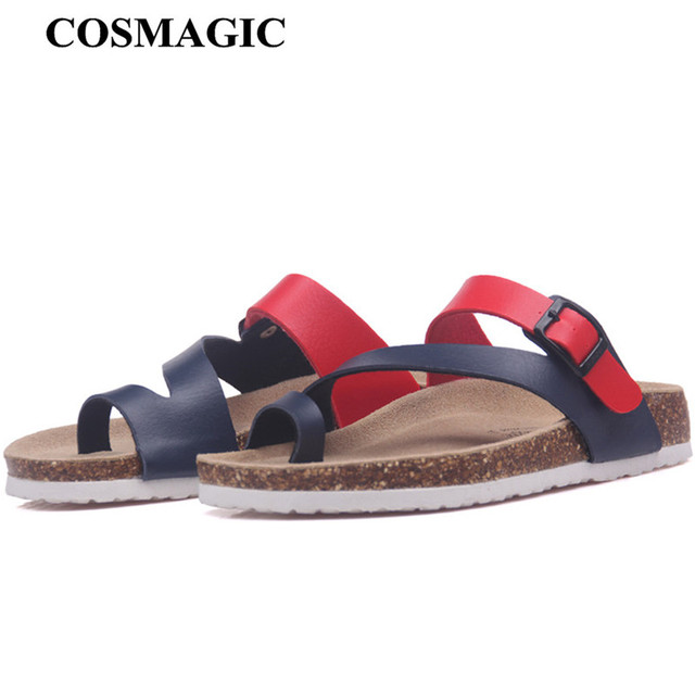 COSMAGIC New Summer Cork Slides Slippers Flats with 2018 New Women Casual Slip on Beach Slides Flip Flops Shoe  Plus Size