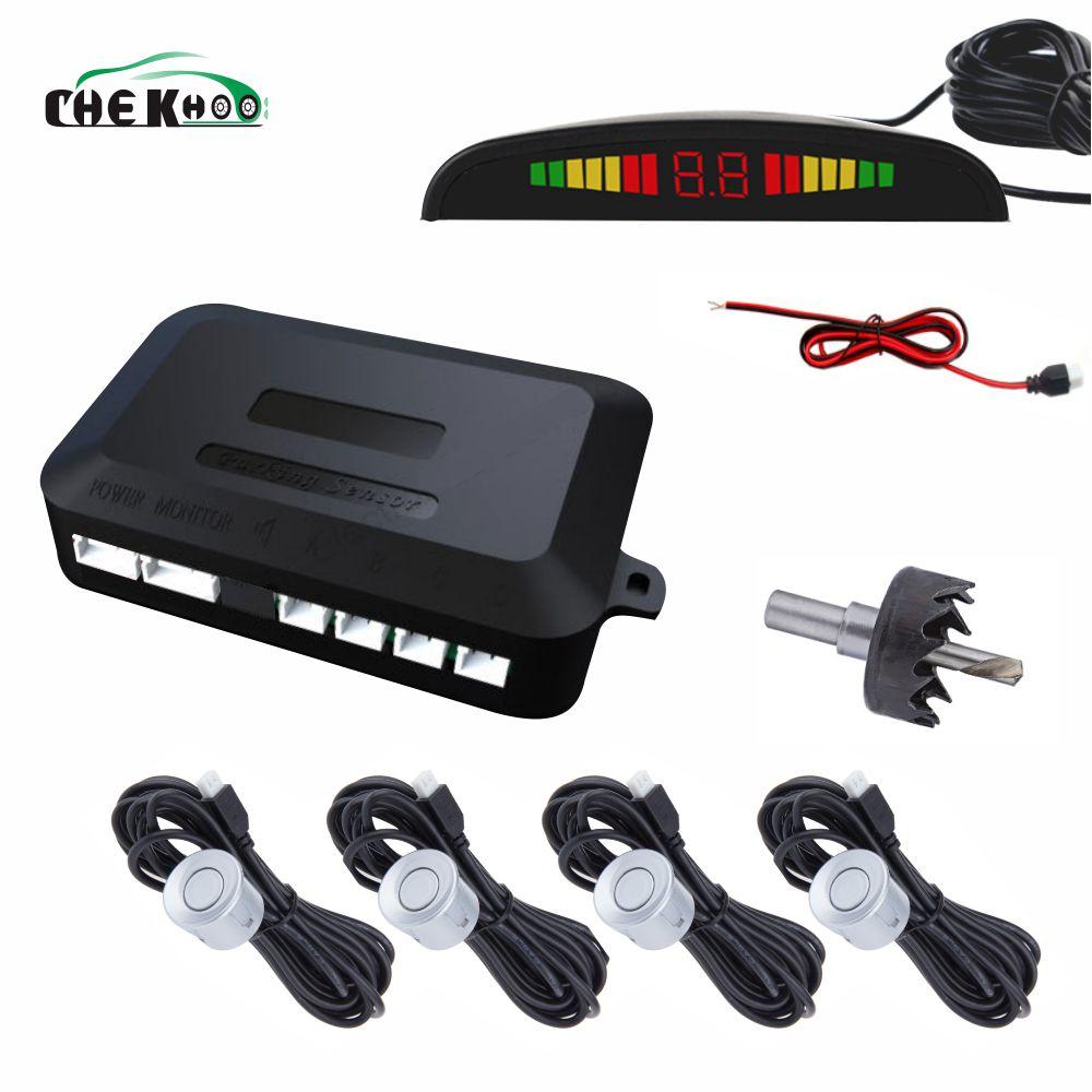 Auto Parktronic LED Sensor de aparcamiento con 4 sensores inverso Backup coche Radar de estacionamiento de Monitor de sistema de retroiluminación de la pantalla