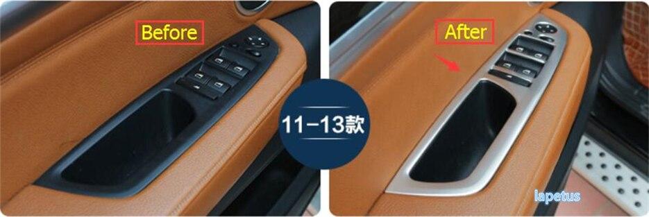 Pour BMW X5 E70 2009-2013X6 E71 2010-2014 accoudoir de porte intérieure en acier inoxydable lève-vitre garniture de couvercle de bouton de commutation