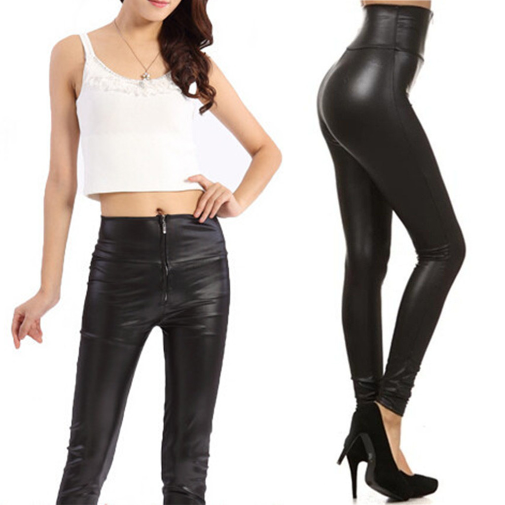 NEW Women High Waisted Zipper Pencil Pants Black Faux Leather Legging with Zipper 2017