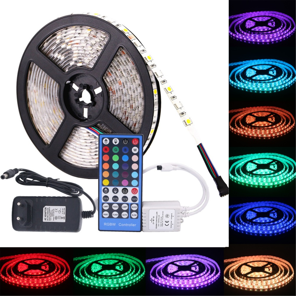 SMD 5050 RGB LED Strip Waterproof DC 12V 5M 300LED RGBW RGBWW LED Light Strips Flexible with 3A Power and Remote Control
