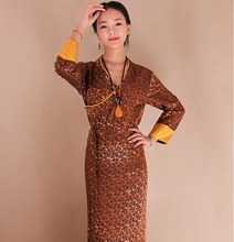 Tibet clothing female Tibetan ethnic costumes Bora ice silk jacquard Cotton Long robe Dress woman Daily cool clothes