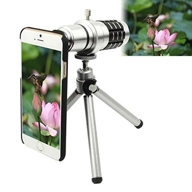 Orbmart Aluminum 12X Optical Zoom Telescope Camera Lens For iPhone 6 6s 6 Plus 6s Plus With Protective Back Case