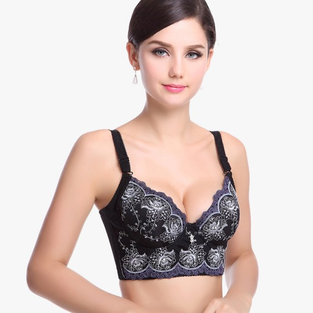 b0aa28a91b94b Sexy Lady Deep V Gather Bras Women Underwire Push Up Lace Side Bra Plus Size  Bust