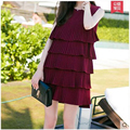 Womens Dresses New Arrival 2016 Summer Layer Dress Sleeveless Casual Beach Burgundy Chiffon Ladies Party Dresses Vestidos Mujer