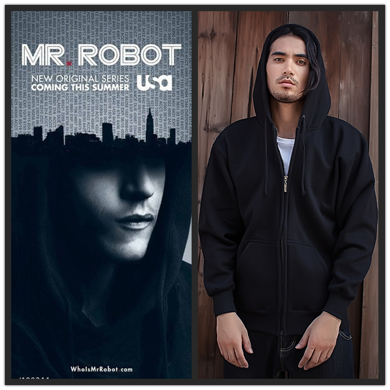 Movie Mr.Robot Elliot Alderson Cosplay Rami Malek The Same Style Men Black Jackets Hoodie Hooded Coat Army of Hackers Costume