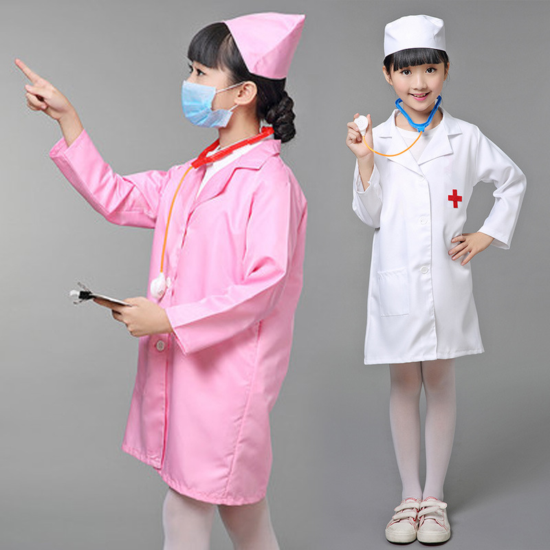 FREE SHIPPING Children Halloween Cosplay Costume Kids Doctor Costume Nurse Uniform With Hat