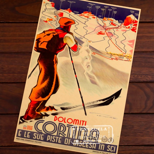 Ski in Dolomites Curtain Skiing Map Classic Vintage Retro Kraft Decorative Poster Maps Travel Posters Wall Sticker Decor Gift
