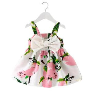Baby Girl Clothes Lemon Printed sundress Infant Outfit Sleeveless Princess bow wedding Dresses hot sale cute clothes summer(China)