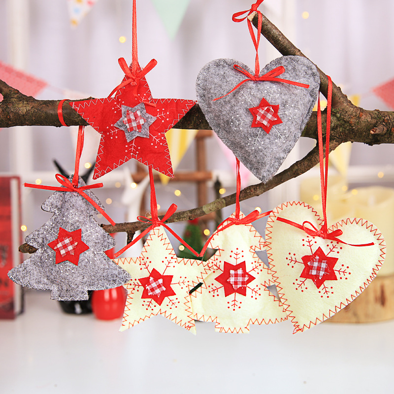 Christmas Tree Decorations For 2019: 3pcs Non Woven Fabric Christmas Tree Hanging Decorations
