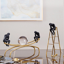 Sitting On A Metal Frame Thinker Room Decoration Accessories European Creative Home Office Ornament With Crystal Ball Gifts