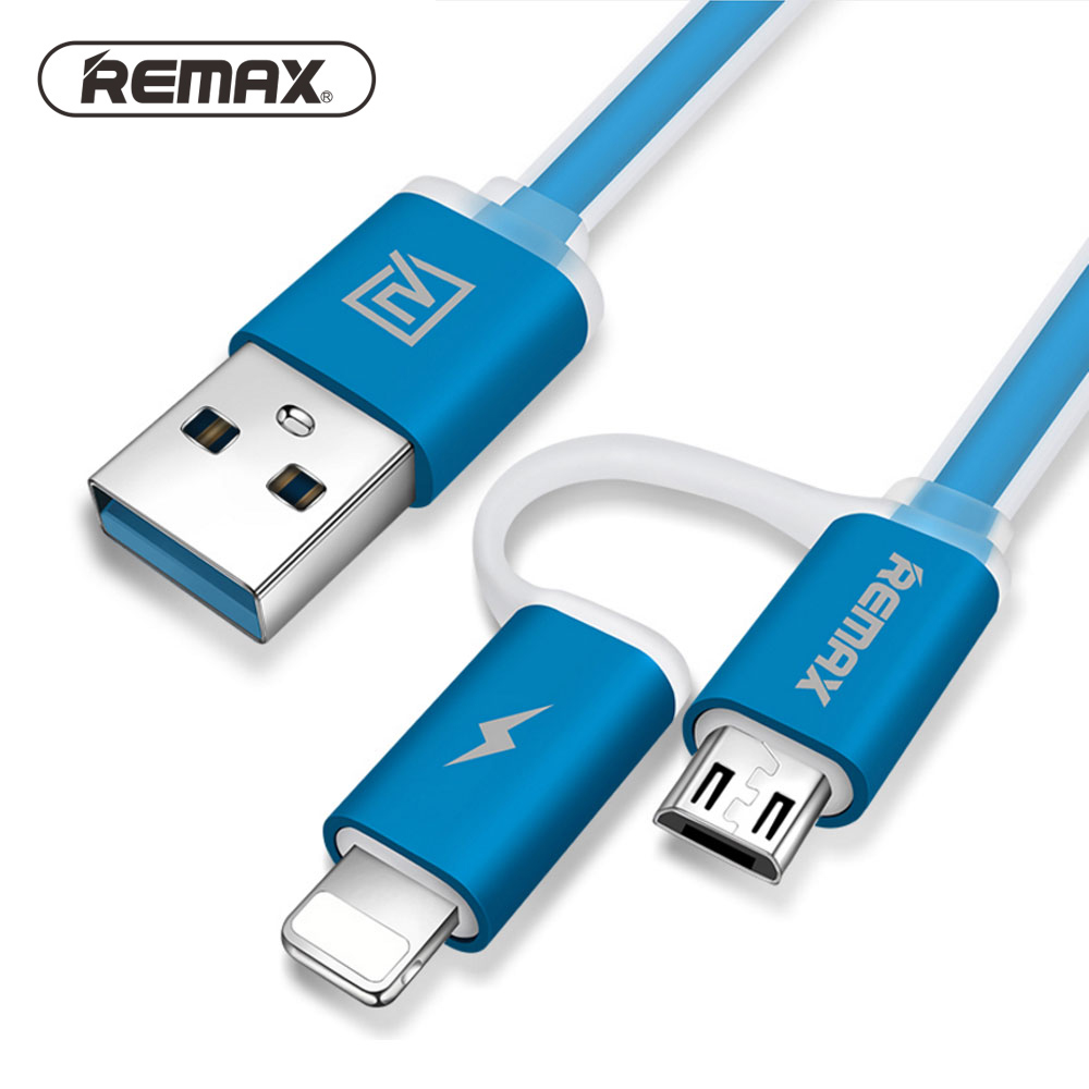 Remax 2 <font><b>in</b></font> <font><b>1</b></font> USB <font><b>Cable</b></font> 2.1A Fast Charging Sync Data Charger <font><b>Cable</b></font> for iPhone x <font><b>6</b></font> 7 8 7s 8s 6s Plus Samsung S6 S5 S4 Huawei Sony image