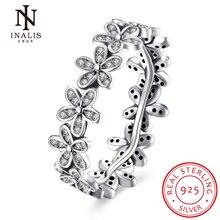 Inalis 2017 новое прибытие оптовая дешевые серебряные цвета популярный цветок палец кольцо ювелирных изделий венчания способа 3 размер