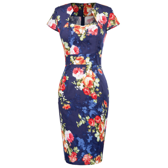 3ec7f985b82 Women Elegant Sexy Floral Flower Print Party Dresses Club Cocktail Fitted  Bodycon Office Work Clothing Plus