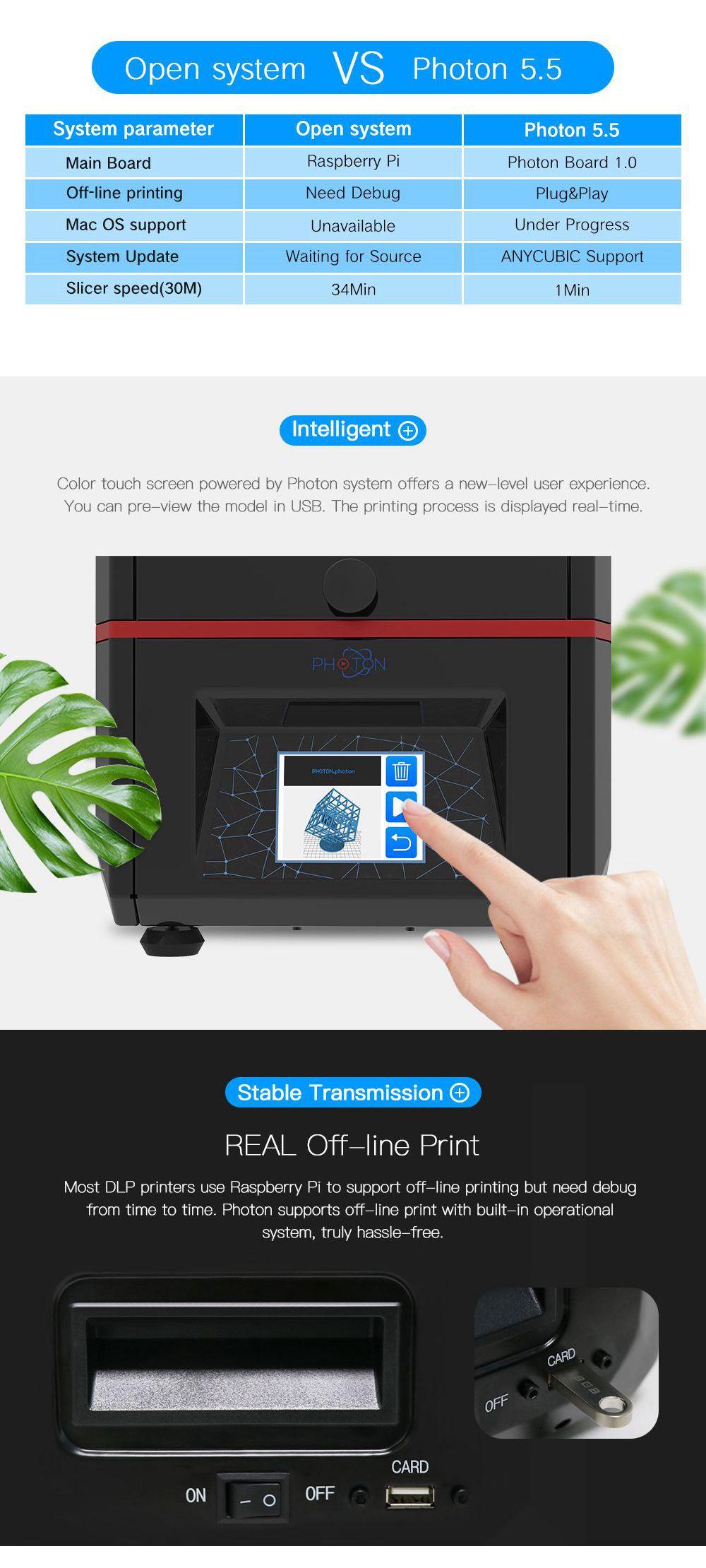 ANYCUBIC 3D Printer Photon SLA UV Resin Light-Cure Desktop Impresora 405nm  Resin Plus Print Size 3d Drucker Cheap