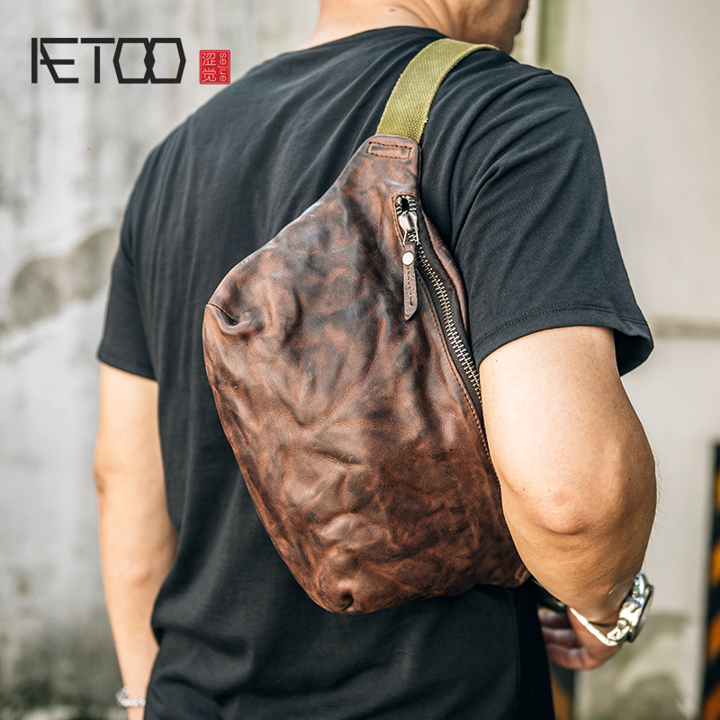 AETOO Head layer Cow purse handmade retro wrinkled leather crossbody bag trend casual chest bag sports bag