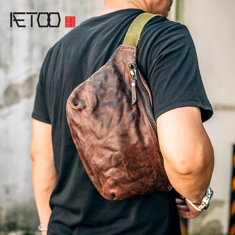 AETOO Tête-couche Vache bourse à la main rétro froissé en cuir bandoulière sac tendance casual poitrine sac sac de sport