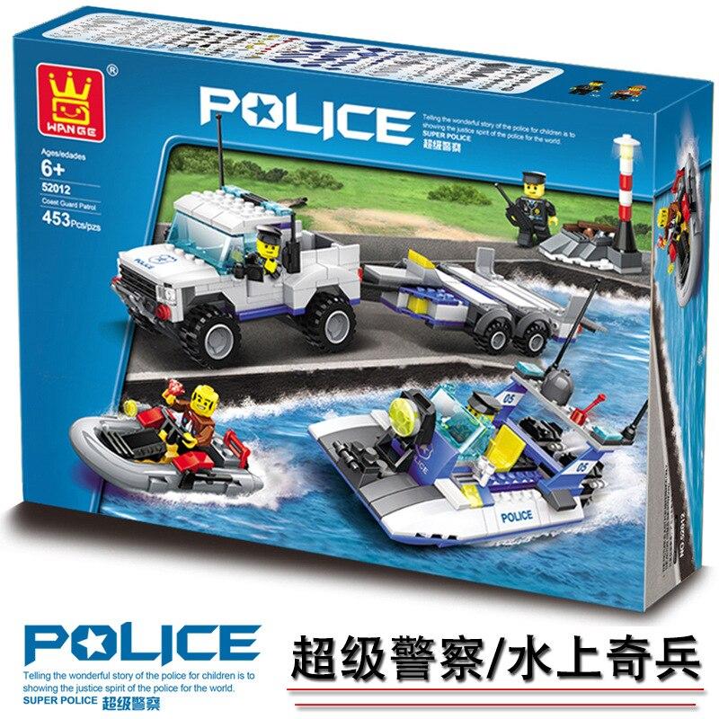 Model building kits compatible with lego city Coast Guard 3D blocks Educational model building toys hobbies for children