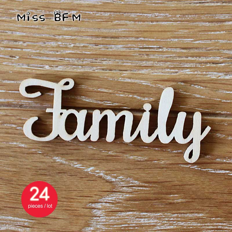 24pcs 100x40mm Wooden Family Word Letters Alphabet Script for Family Tree Crafts Home Wedding DIY Decorations