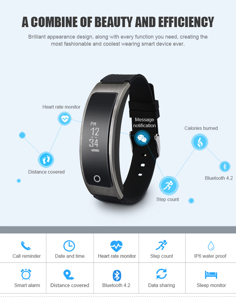 Smartch Hot Sales I8 Smart Bracelet Talk Band TalkBand Heart Rate Blood Pressure Oxygen Pedometer Bluetooth