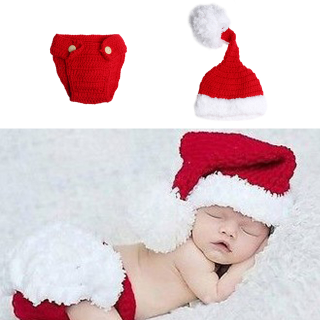 Newborn Infant Baby Xmas Crochet Knitted Costume Hat Pants Photography Prop  Baby Costumes Santa Claus Christmas Hat+Pants Props 819405567b48