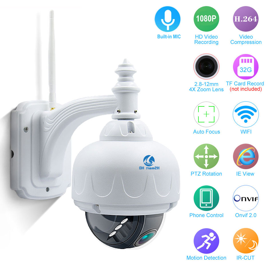 4X Zoom 2.8 12mm Outdoor Wireless Revolving Dome PTZ IP Camera Wifi HD 1080P Audio Microphone SD Card IR Night Onvif P2P Camera