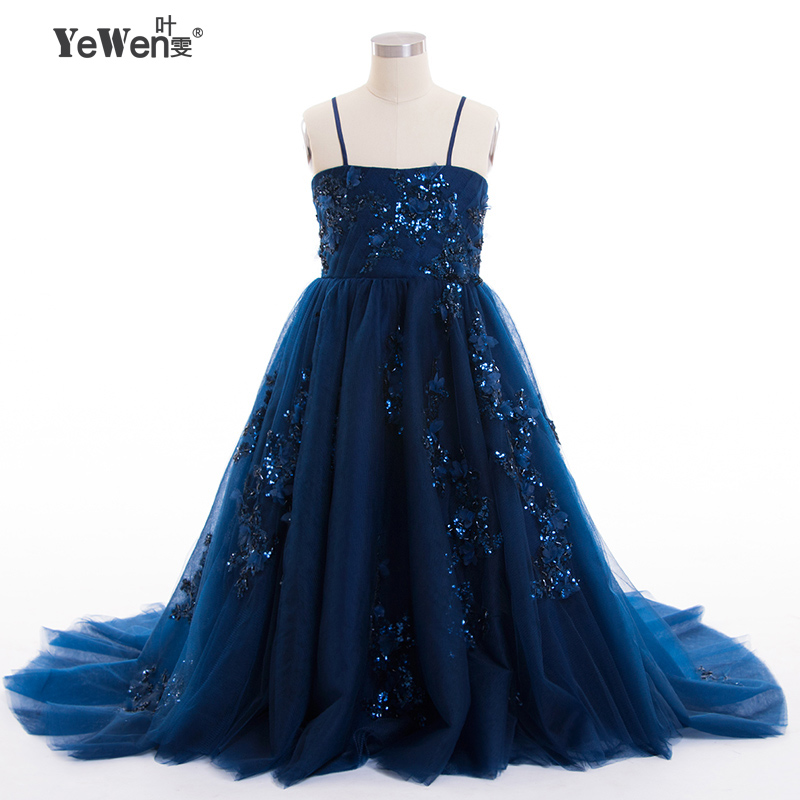 YeWen new design lace up   Flower     girl     dresses   with train new year birthday christmas sequin teen baby toddler age size 2-14 years
