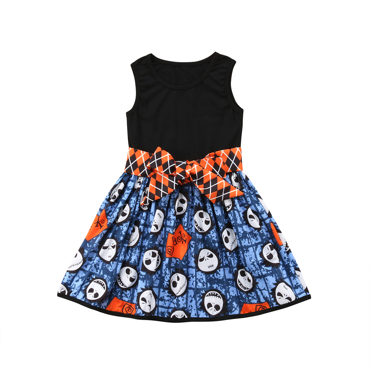 Halloween Party Princess 0-5y Toddler Baby Girls Dress Sleeveless Cartoon Pattern Patchwork Knee-length A-line Dress Girls' Clothing