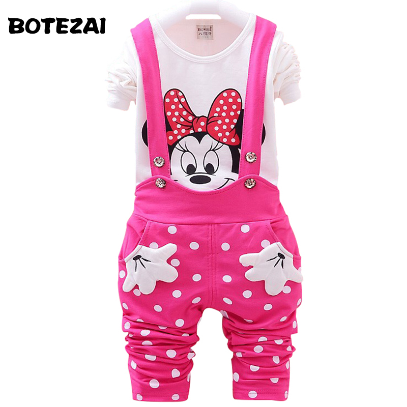 цена 2017 New Autumn Baby Girls Clothes Set Minnie Toddler Girl Clothing Set Long Sleeve T shirt + Overalls Kids Girl Clothes Autumn