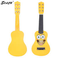 SOACH 2016 New High quality Cartoon wooden Children's guitar 6 Strings For guitar gifts yellow Ukulele Guitar