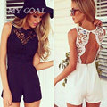 Women Overalls shorts Bodysuit 2016 Fashion Summer  Sexy Lace Backless Patchwork Sleeveless  Overalls 2 Colors S-XL