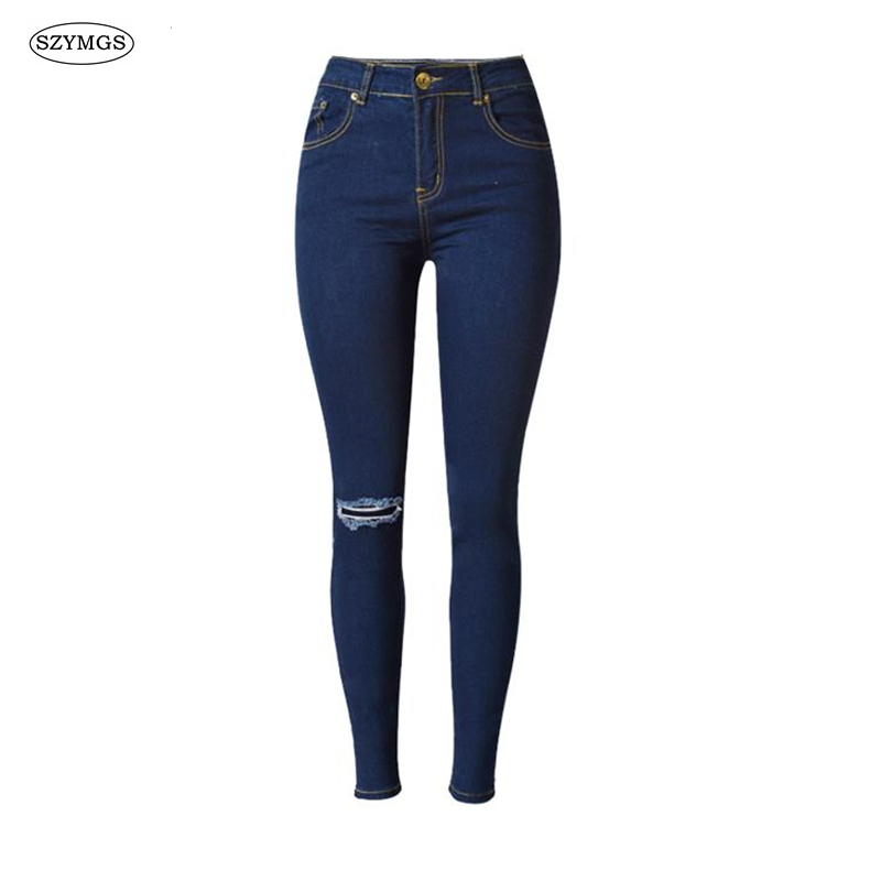 SZYMGS high waist Pencil Pants Skinny jeans woman ripped jeans for women jeans femme Hole jean