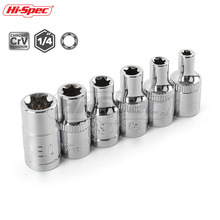 Hi-Spec 6pc 1/4 inch Torx Socket Set Female E Star Bit Adapter E4 E5 E6 E7 E8 E10 Chrome Vanadium Steel ST009