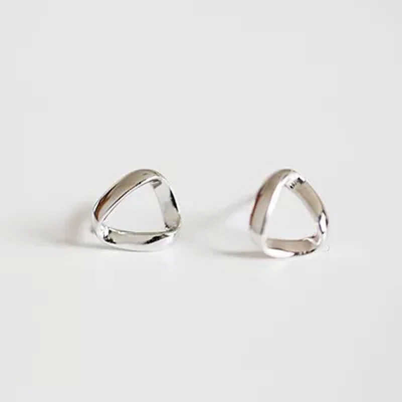 Limited edition 925 pure silver triangle brief all-match stud earring anti-allergic