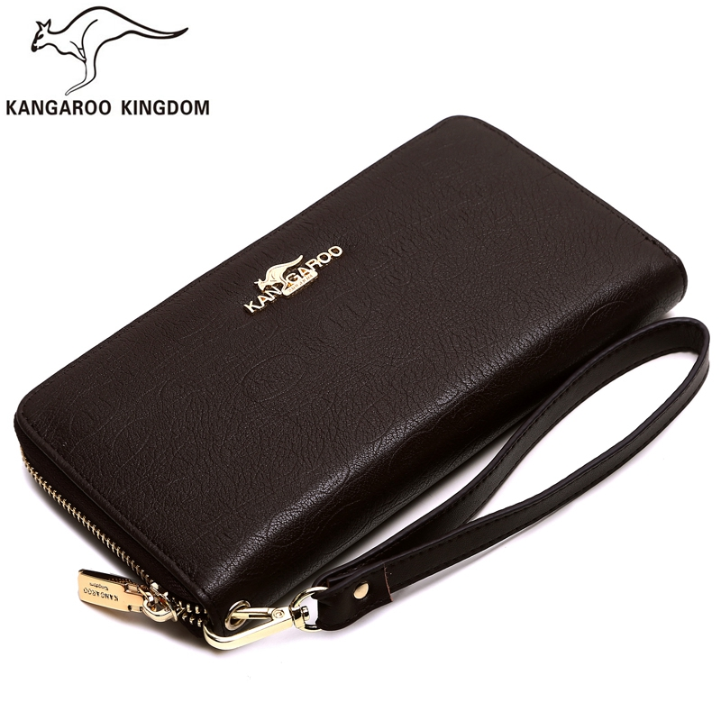 Kangaroo Kingdom Brand Men Wallets Long Genuine Leather Wallet Male Clutch Bag Purse Business women wallets genuine leather wallet purse casual long business clutch embossed men brand wallets carteira masculina billeteras