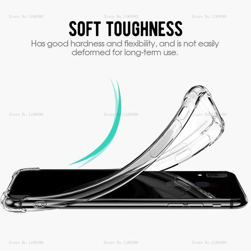 Luxo tpu caso armadura para samsung galaxy a50 a30 a40 a70 a10 a20 m30 m20 m10 a505 a305 50 claro airbag macio silicone telefone capa