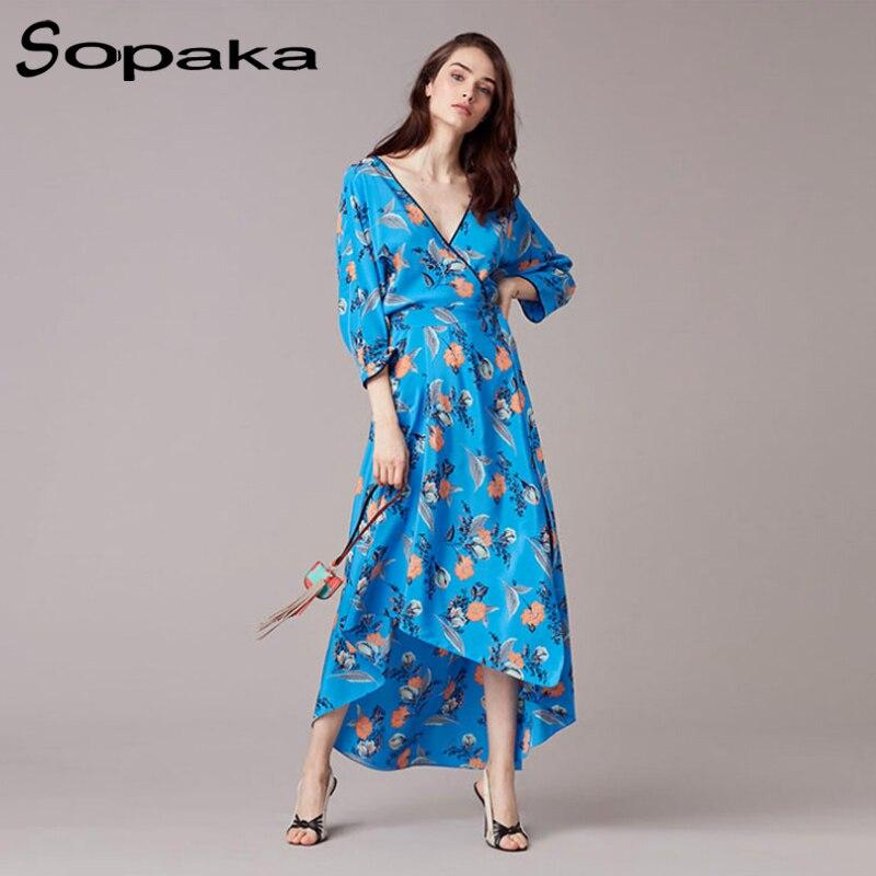 Newest 2017 Autumn Floral Print Women Dress Elegant Sexy Deep V Neck Sashes Long Sleeve Ankle