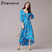 Newest 2017 Autumn Floral Print Women Dress Elegant Sexy Deep V Neck Sashes Long Sleeve Ankle