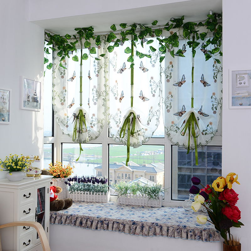 2015 Butterfly Tulle For Window Roman Curtain Blinds Embroidered Voile Sheer Curtains Kitchen Living Room