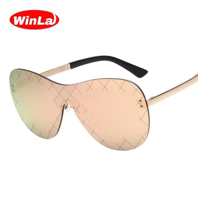 schnell verkaufend Gutscheincodes bekannte Marke US $13.3  Winla Randlose Sonnenbrille Frauen Mode Sonnenbrillen Weibliche  Spiegel Gläser Frauen Marke Designer Brille Sonnenbrille Legierung Beine in  ...