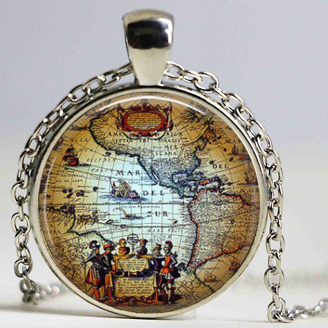 Free shipping antique old world map circa 1500 pendant necklace free shipping antique old world map circa 1500 pendant necklace americas explorers globe pendant necklace gumiabroncs Gallery