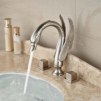 Wholesale And Retail Bathroom Swan Faucet Double Handles Sink Mixer Tap 3 Holes