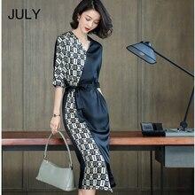 2019 summer new split female irregular in the long section V-neck letters color silk heavy dress