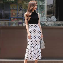 Summer new Ruffle Two Pieces Set Fashion Polka Dot Skirt Suits Elegant Sleeveless Knitted Tank Tops and High Waist Skirts Sets girls clothing sets polka dot sleeveless vest comfortable cotton skirts summer new gilr mini skirt children fashion set