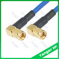 SMA à angle droit mâle à mâle | Les deux extrémités avec câble RG402 RG14 Coaxial bleu  câble Semi-Flexible 20in 50cm à faible perte