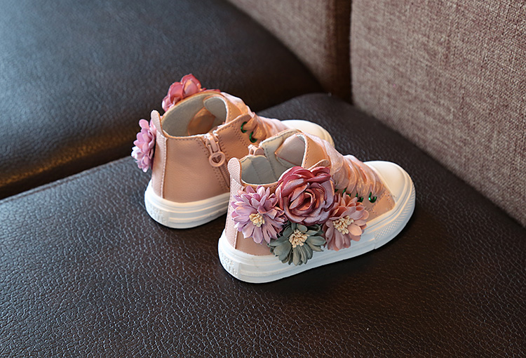 Girls' sports shoes autumn new outdoor wedding anti slip cute flat flower princess Children's Fashion shoes 1-4 years old