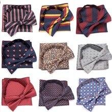 XGVOKH Bowtie Cravat Set Men Handkerchief Butterfly Tie Striped Fashion  Bow Ties Wedding Party Necktie Formal Dress Accessories