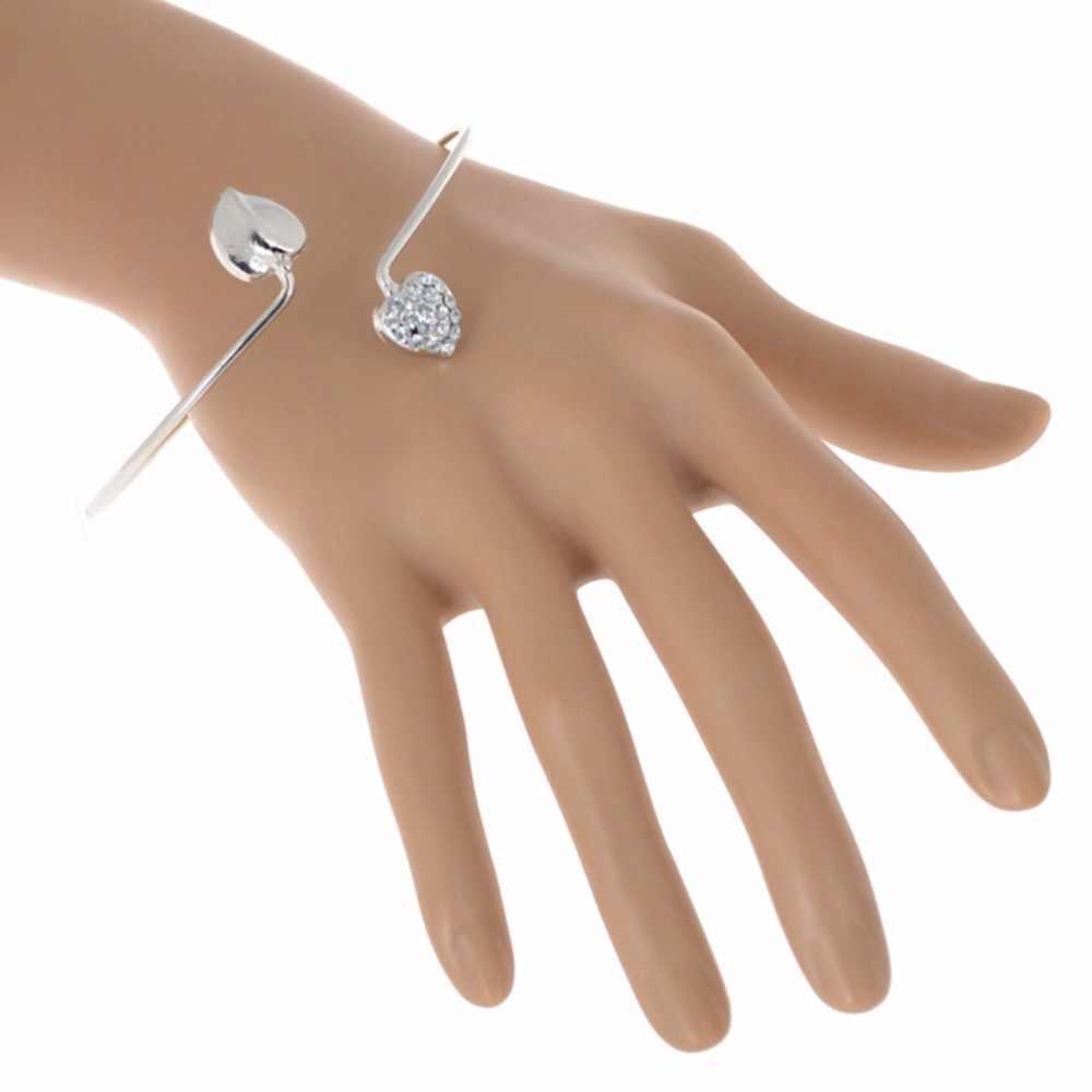 JETTINGBUY ריינסטון אהבת לב Armband אצעדת צמיד אופנה צמידים & צמידים חדשים לתכשיטי נשים ילדה ליידי שרוול זרוע